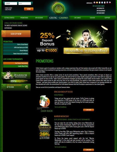 Various Offers On Celtic Live Casino